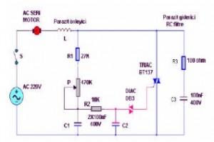 ac motor tiryak ile hız kontrol devre şeması