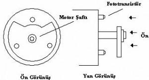 Foto transistörlü motorun şaft görünüşleri