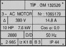 Motor etiketi