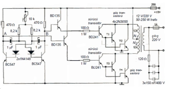 Basit DC-AC konvertör devreleri